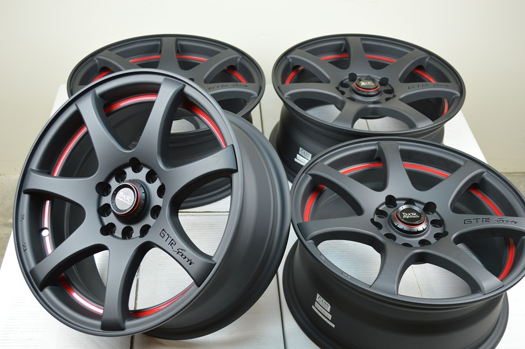 15 Matt Black Red Rim Wheel Kia Soul Optima Hyundai Elantra Tiburon Toyota Prius